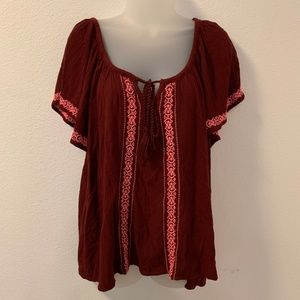 Mossimo Women's Peasant Blouse Top Sz XL Maroon